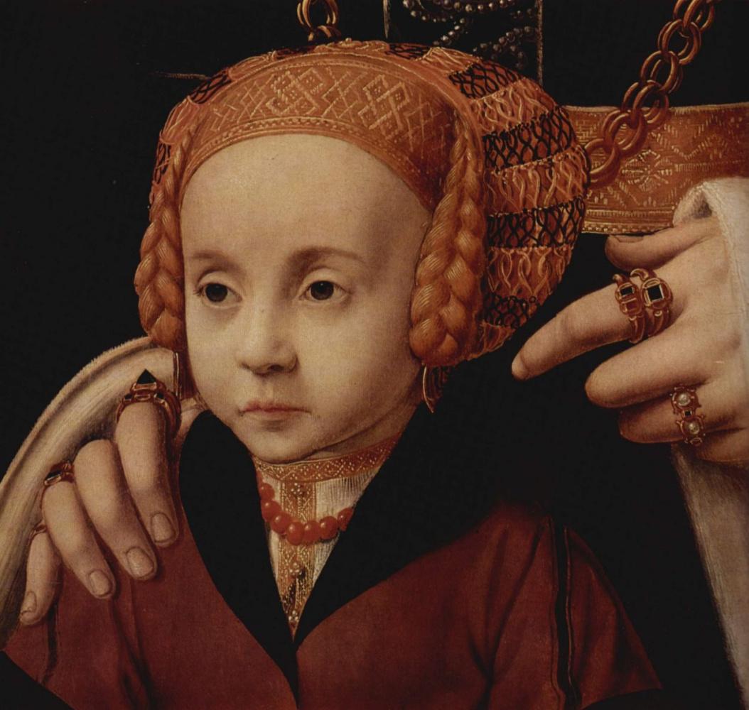 Бартоломеус Брейн. Портрет дамы с дочерью, фрагмент