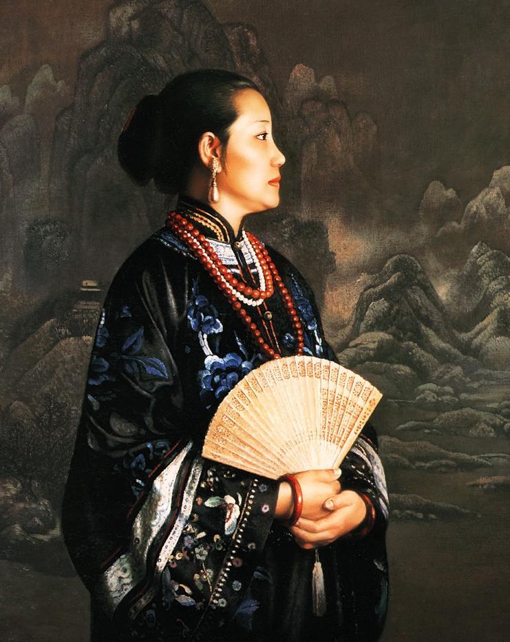 Guo Fang. Dreaming woman with a fan
