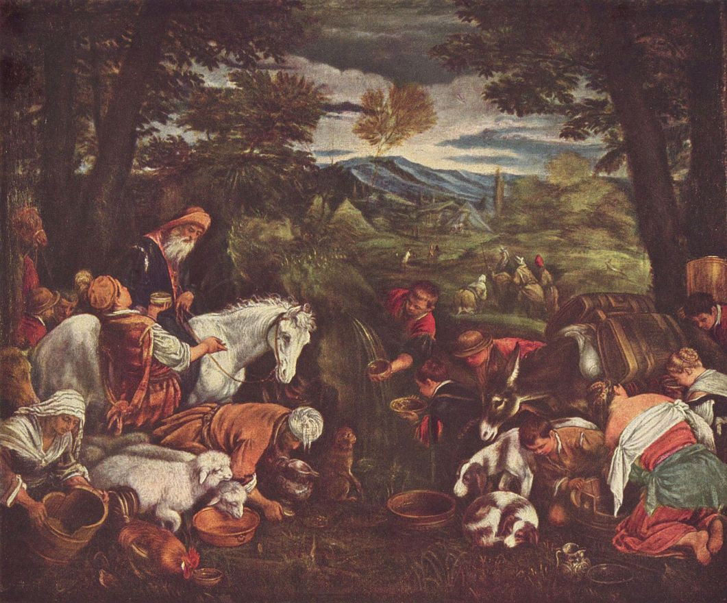 Якопо да Понте Бассано. Моисей иссекает воду из скалы