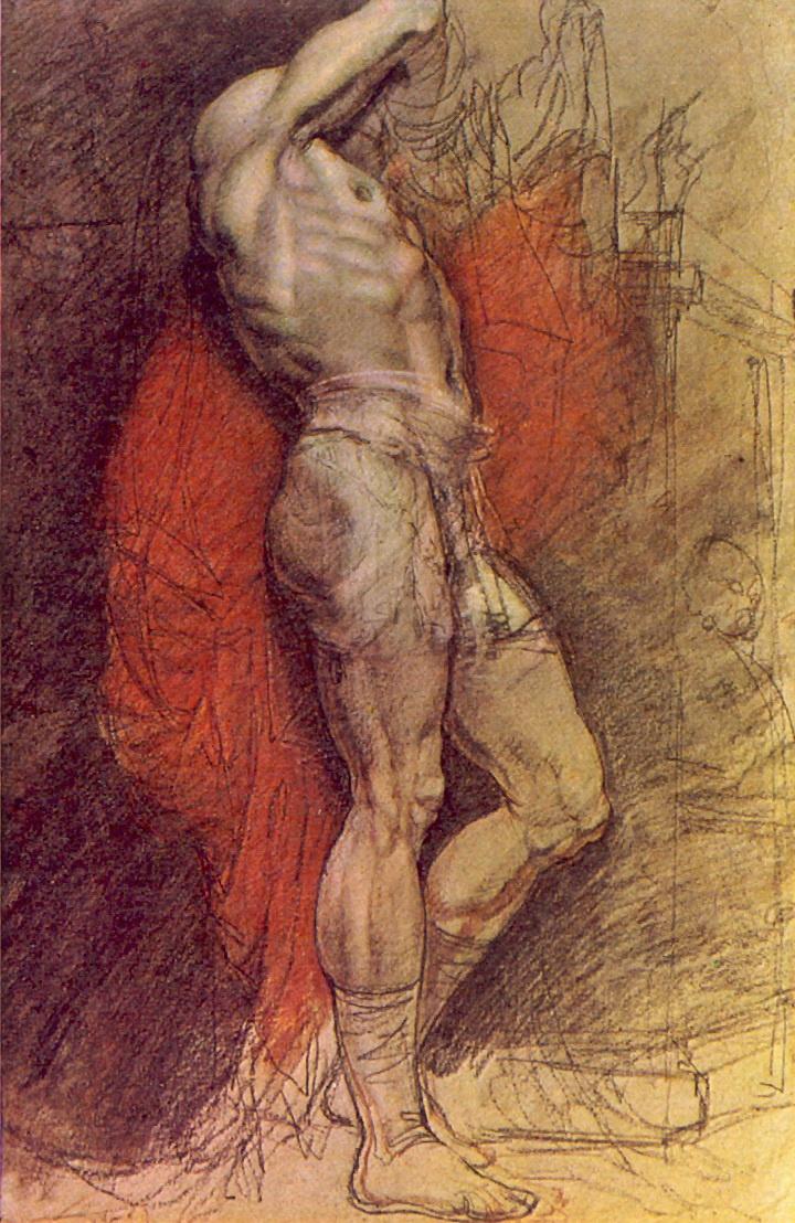 Орест Адамович Кипренский. Стоящий натурщик на фоне красной драпировки