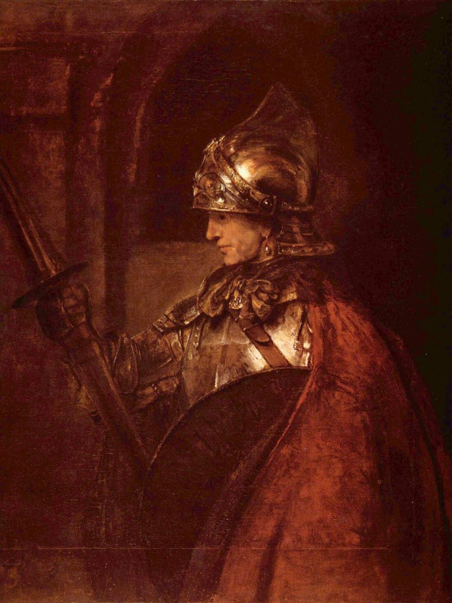 Рембрандт Харменс ван Рейн. Мужчина в доспехах и с оружием
