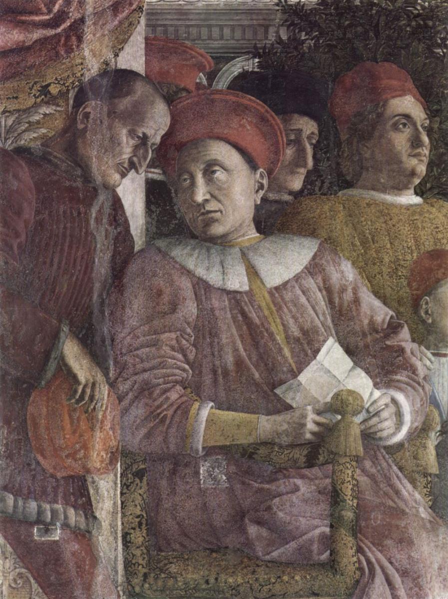 Андреа Мантенья. Двор Гонзага, фрагмент: герцог Лодовико Гонзага беседует с секретарем Марсилио Андреази. Камера дельи Спози