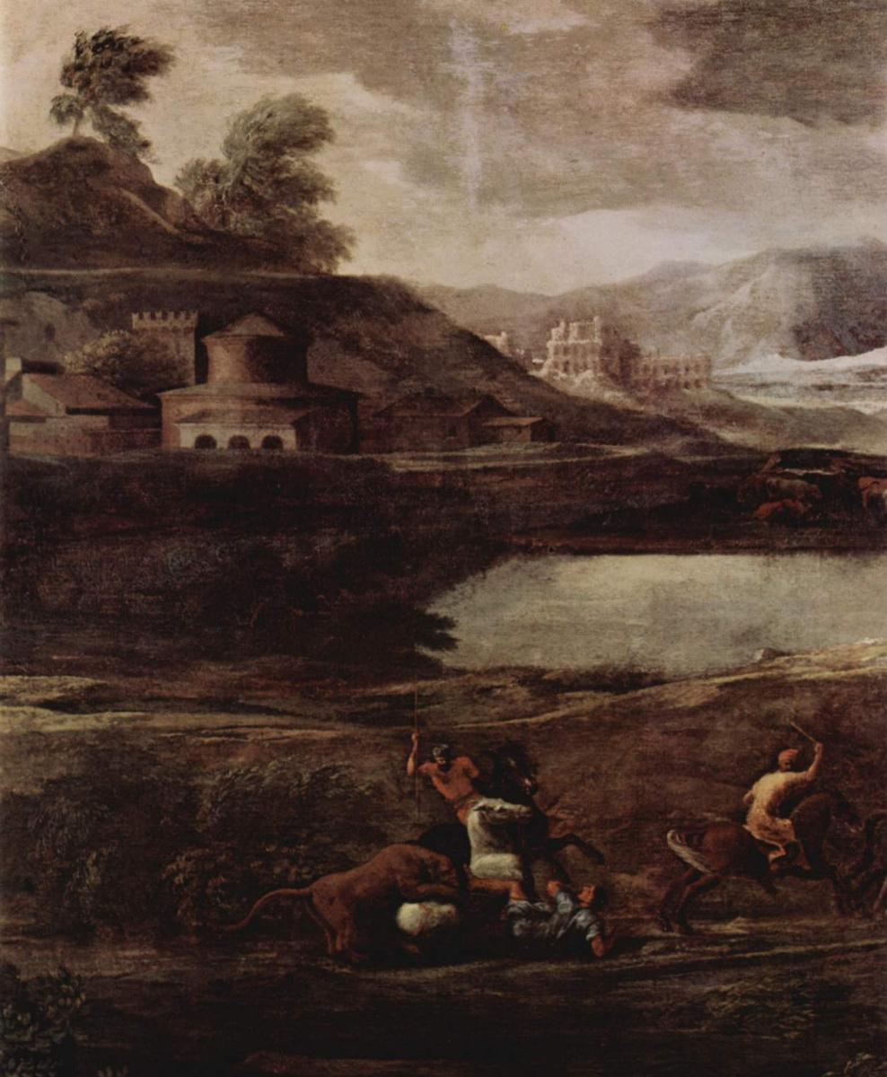 Никола Пуссен. Пейзаж с Пирамом и Фисбой, фрагмент