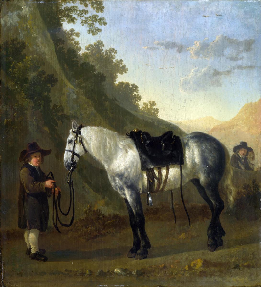 Абрахам ван Калрает. Мальчик держит серую лошадь