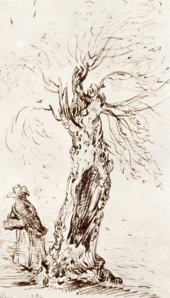 Джон Констебл. Дерево и фигура; зарисовка в Хэме, Суррей