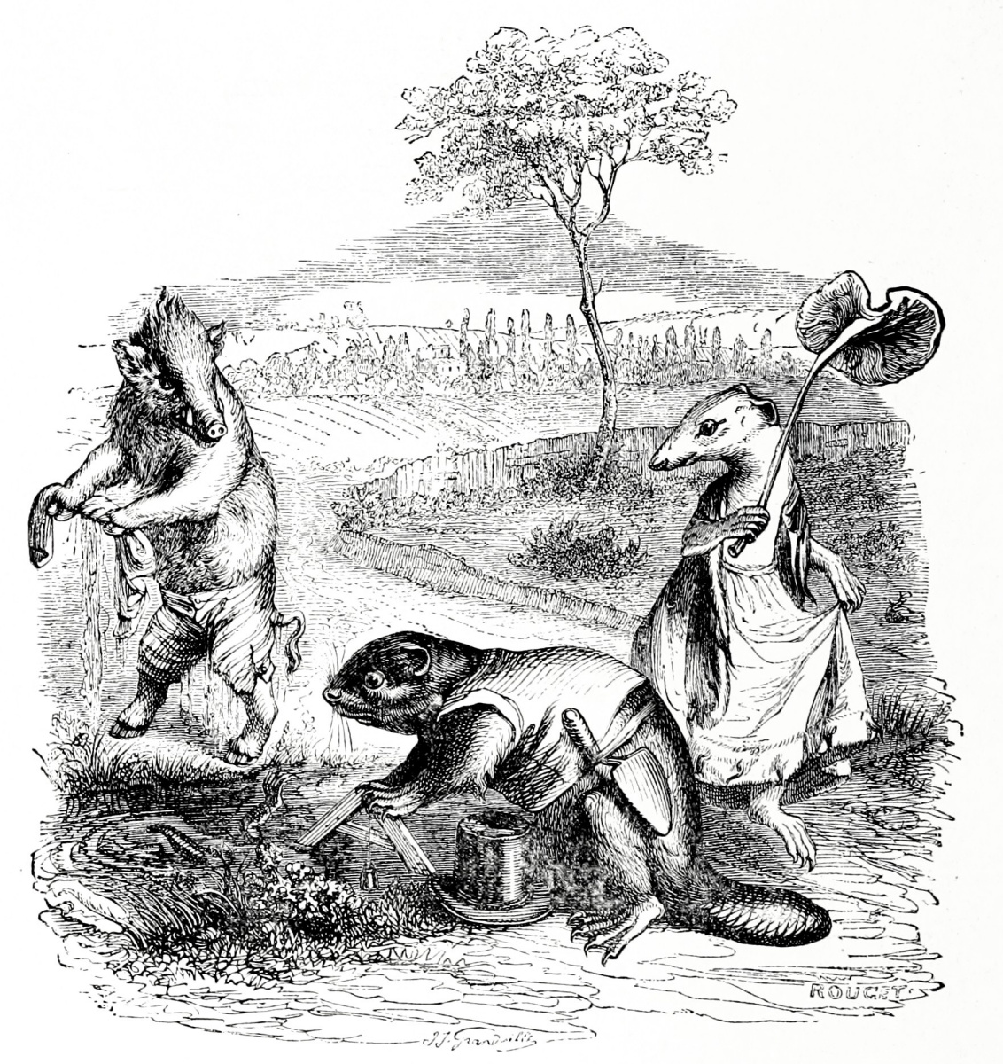 Jean Inias Isidore (Gerard) Granville. Three types of luck: Gornostay, Beaver and Boar. Illustrations to the fables of Florian