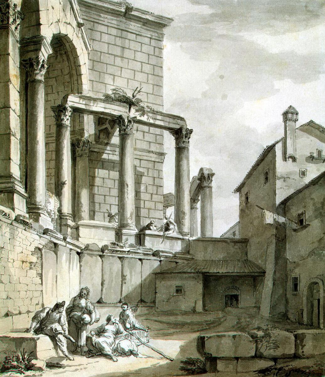 Шарль-Луи Клериссо. Вид на храм Юпитера во дворце Диоклетиана