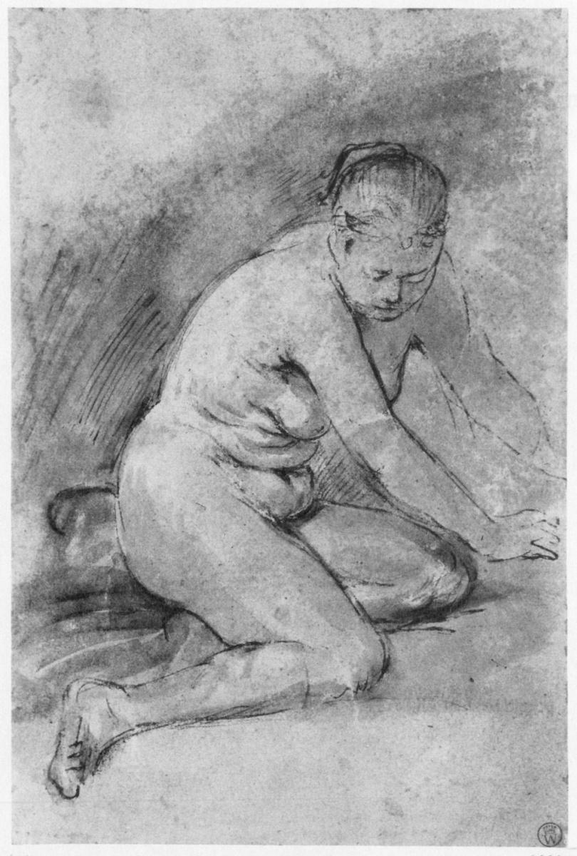 Рембрандт Ван Рейн. Стоящая на коленях обнаженная натурщица