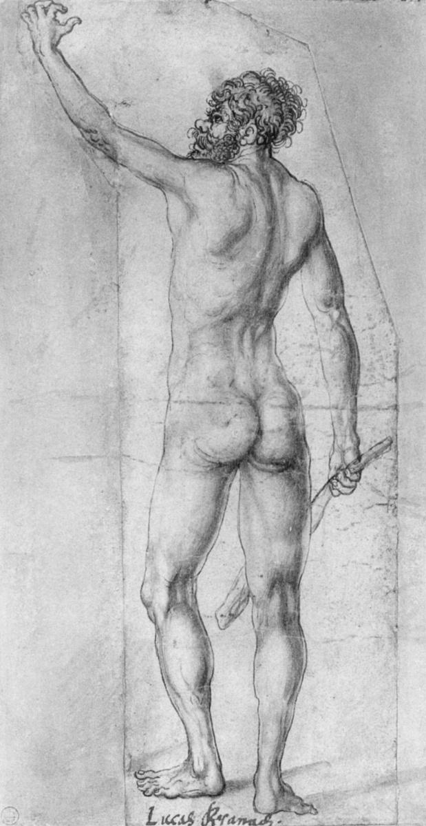 Лукас Кранах Старший. Обнаженный с дубиной со спины