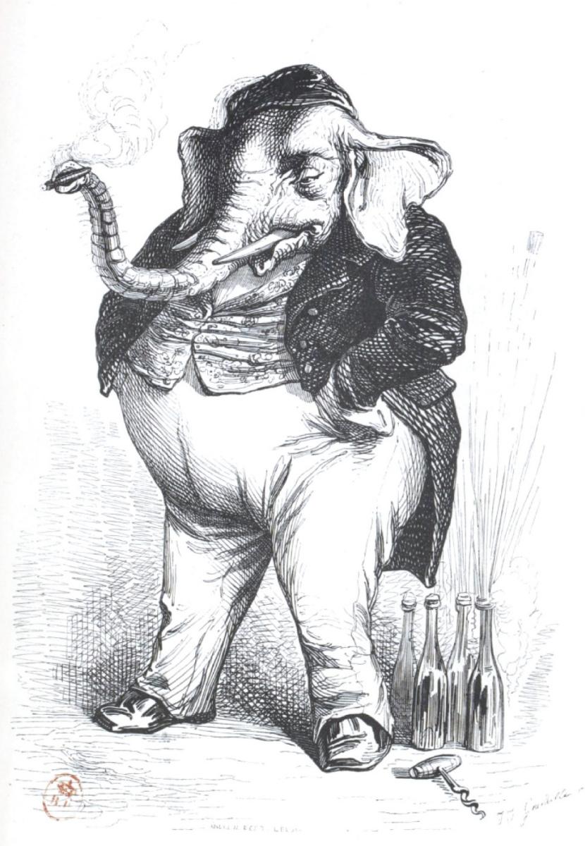 """Жан Иньяс Изидор (Жерар) Гранвиль. Вы слишком толстокожий, сэр, мы не договоримся. """"Сцены общественной и частной жизни животных"""""""
