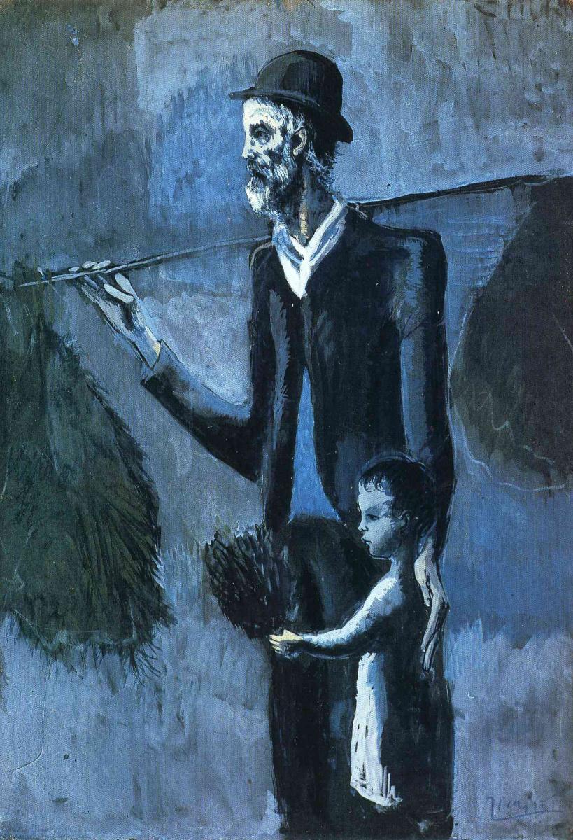 Пабло Пикассо. Взрослый мужчина и маленький мальчик