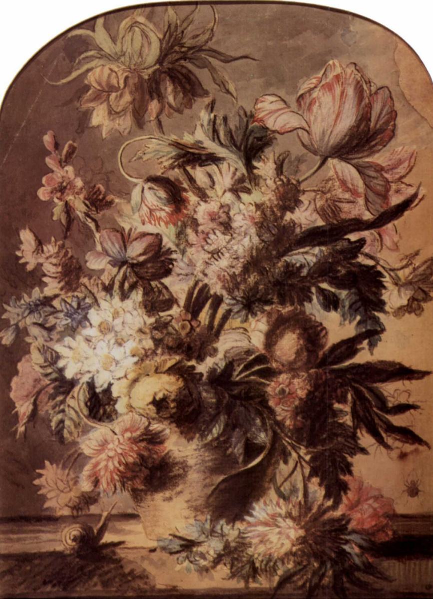 Ян ван Хейсум. Натюрморт с букетом цветов в вазе