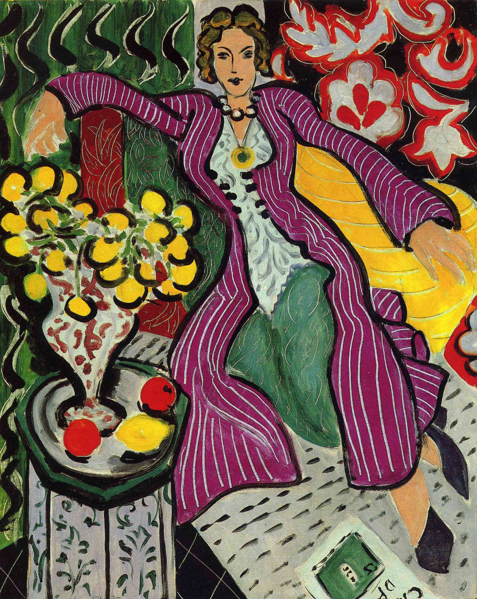 Woman in purple dressing gown by Henri Matisse: History, Analysis ...