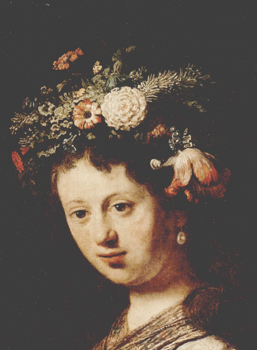 Рембрандт Харменс ван Рейн. Флора, портрет Саскии фрагмент, лицо