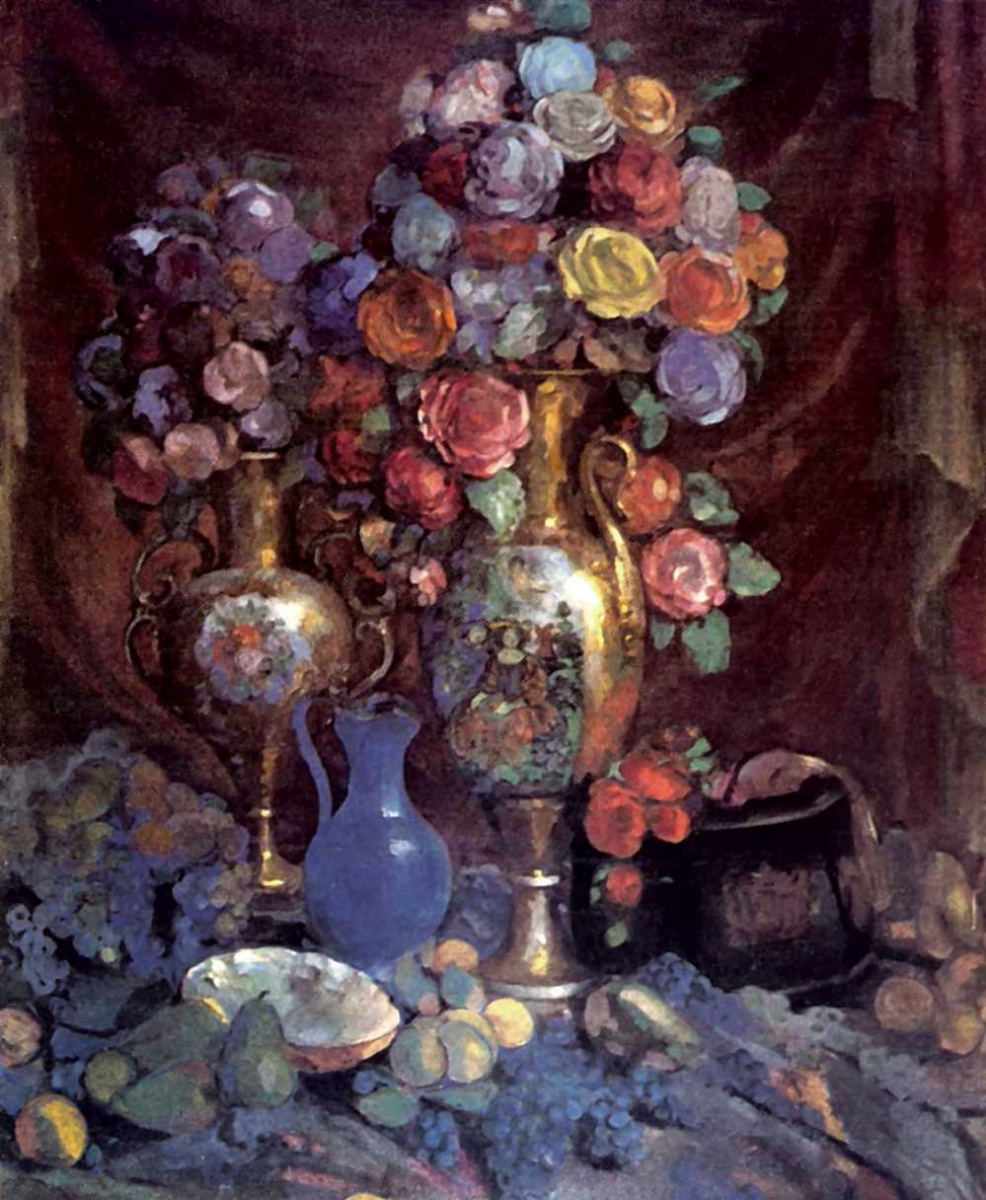 Николай Николаевич Сапунов. Вазы, бумажные цветы и фрукты
