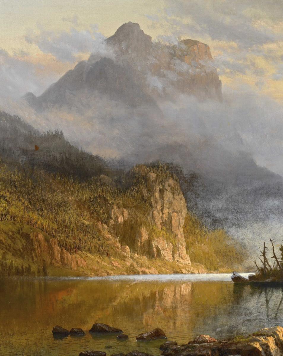 Альберт Бирштадт. Рыбалка индейцев. Фрагмент. Горы над рекой
