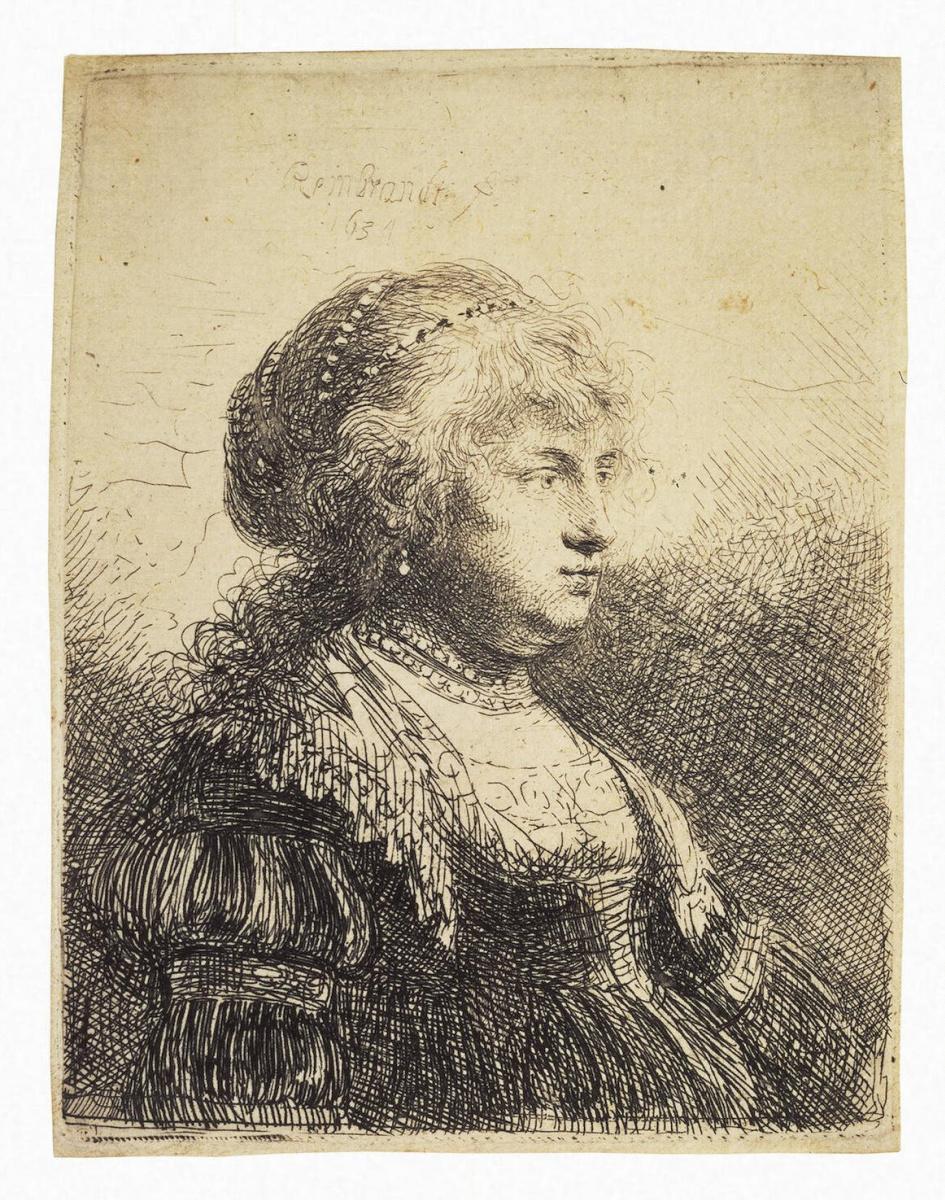 Рембрандт Ван Рейн. Портрет Саскии с жемчугом в волосах