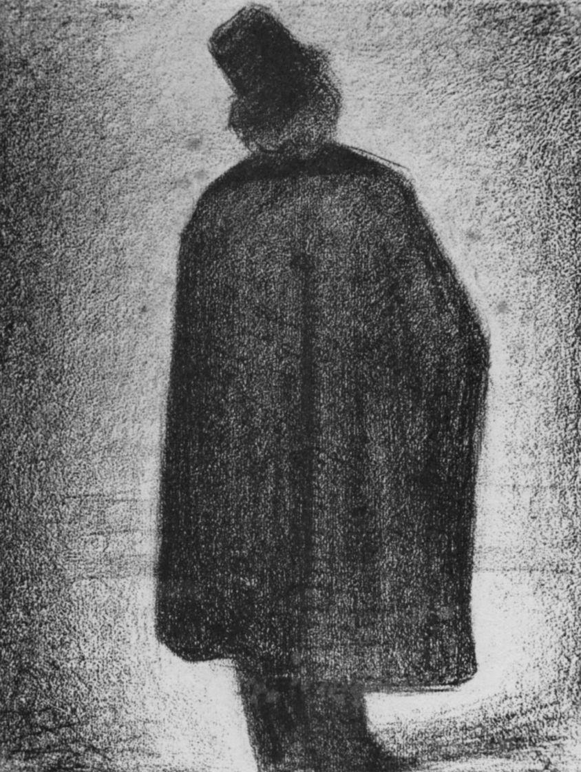 Жорж Сёра. Мужчина в накидке и цилиндре