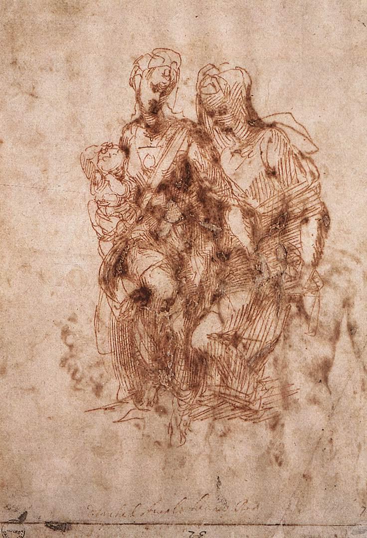Микеланджело Буонарроти. Набросок Св. Анны с Богоматерью и младенцем Христом