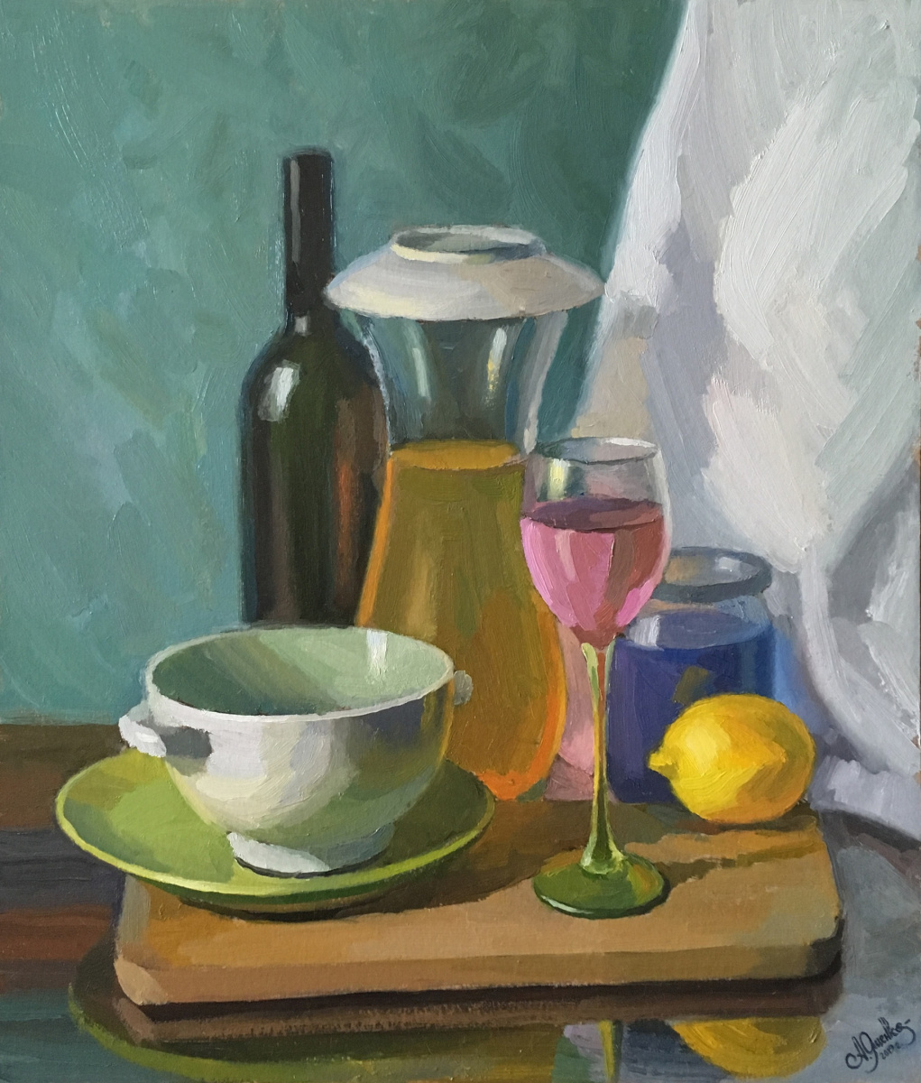 "Artur Petrovich Yatsenko. ""Still life with dishes and a glass"""