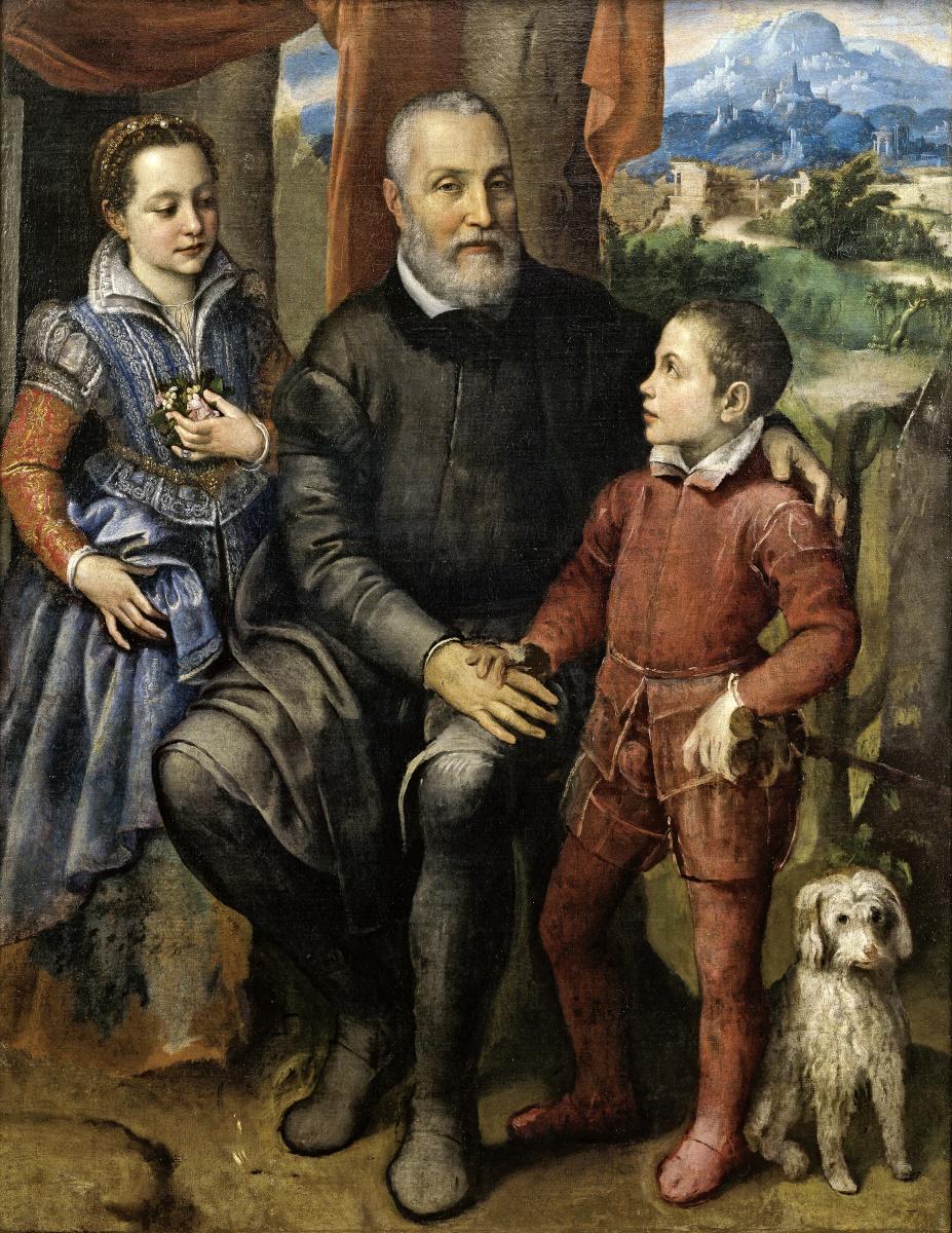 Софонисба Ангвиссола. Портрет семьи художницы: отец Амилькар, сестра Минерва и брат Асдрубаль