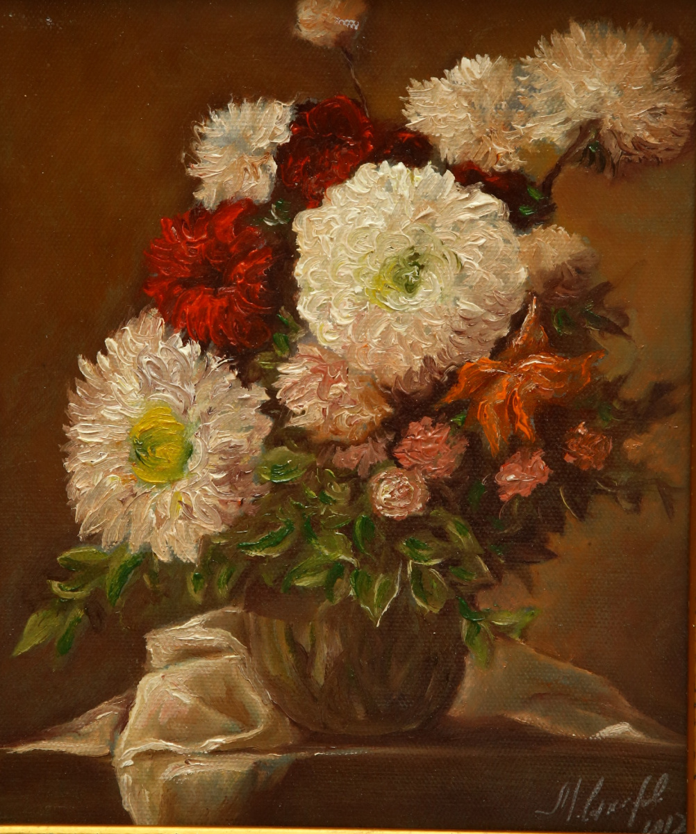 Michael Sakharov. Bouquet on a brown background
