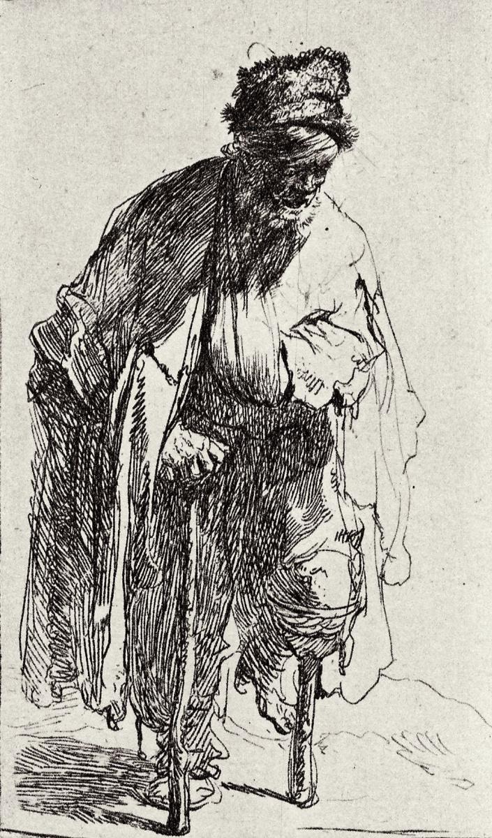 Рембрандт Харменс ван Рейн. Нищий на деревянной ноге