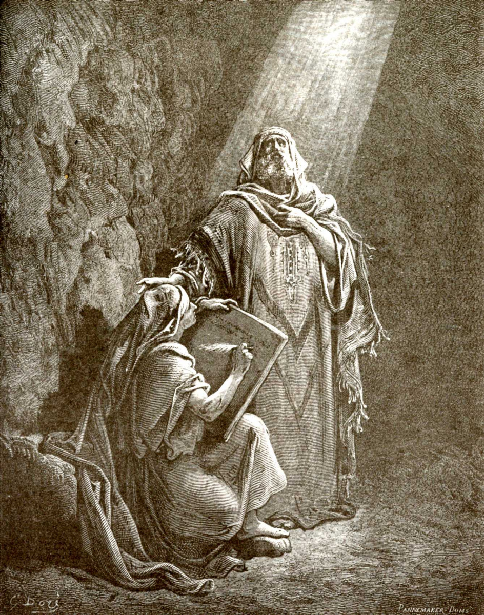 Поль Гюстав Доре. Иллюстрация к Библии: Иеремия диктует свои пророчества Варуху