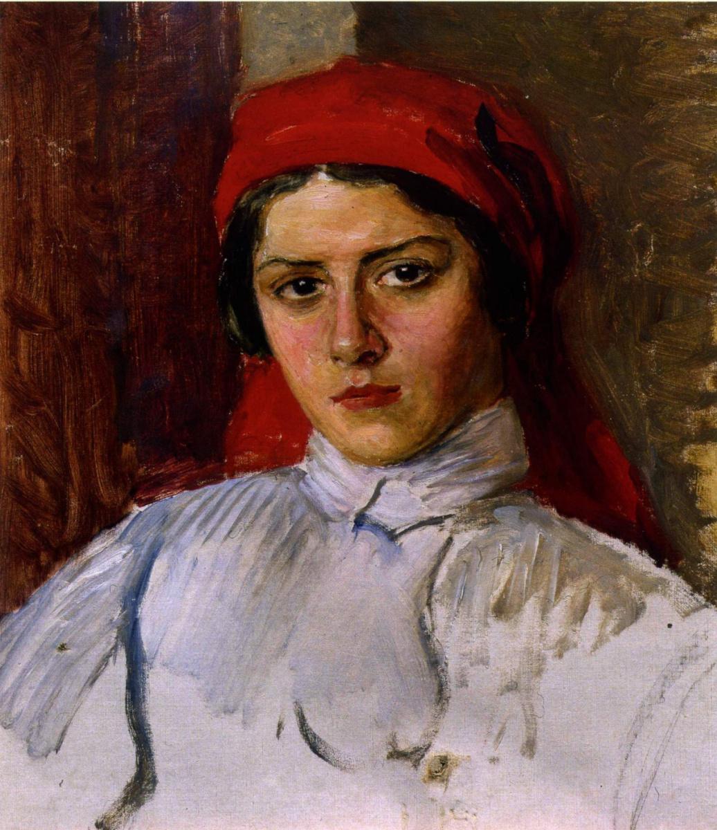 Евгений Иосифович Буковецкий. Woman in a red scarf