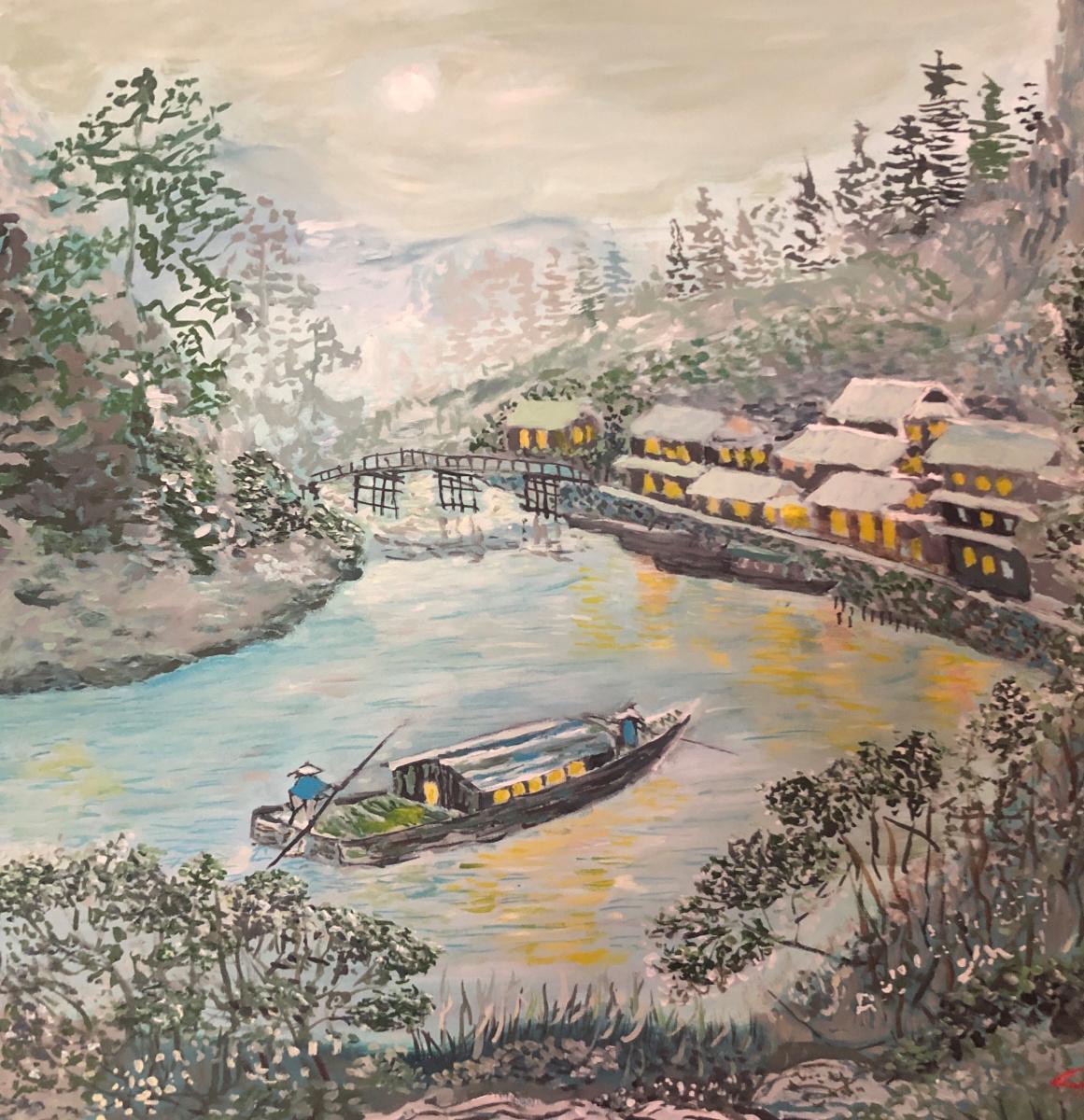 Sergey Vladimirovich Sebini. Moonlight landscape. Variation on the theme of Keukei Kojima