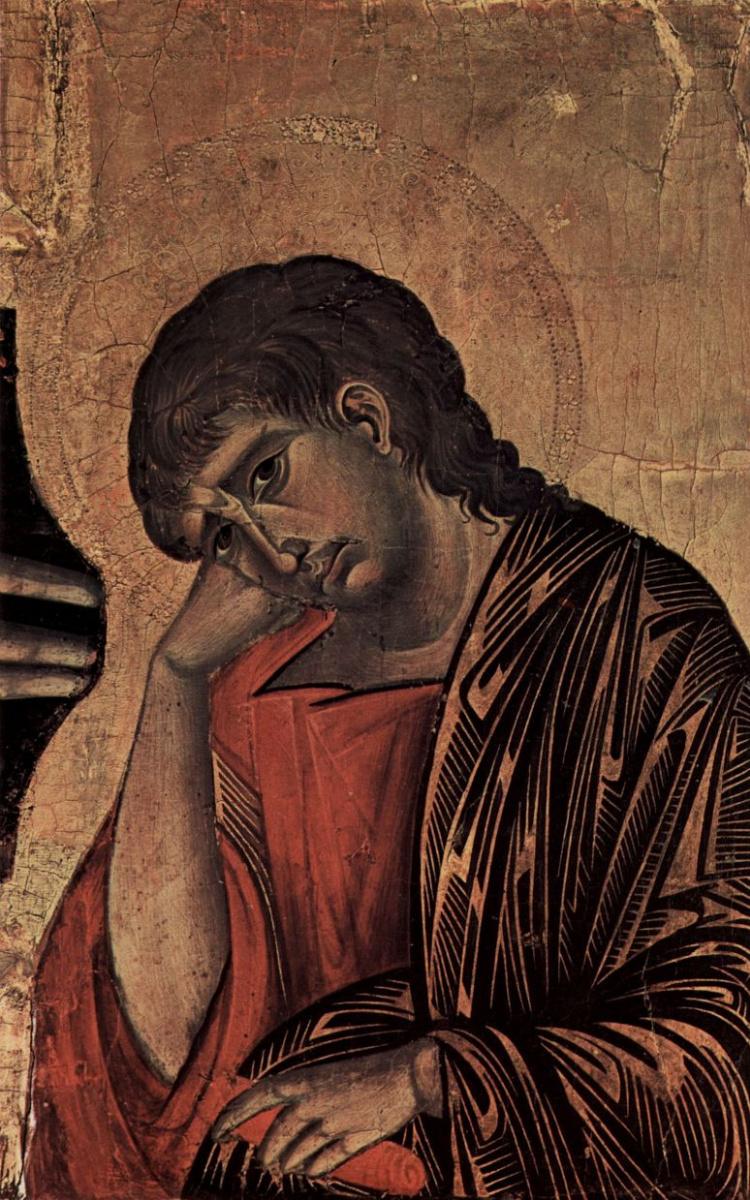 Ченни ди Пепо Чимабуэ. Распятие, тондо: Благославляющий Христос, Распятие: Мария и Иоанн, деталь: Иоанн