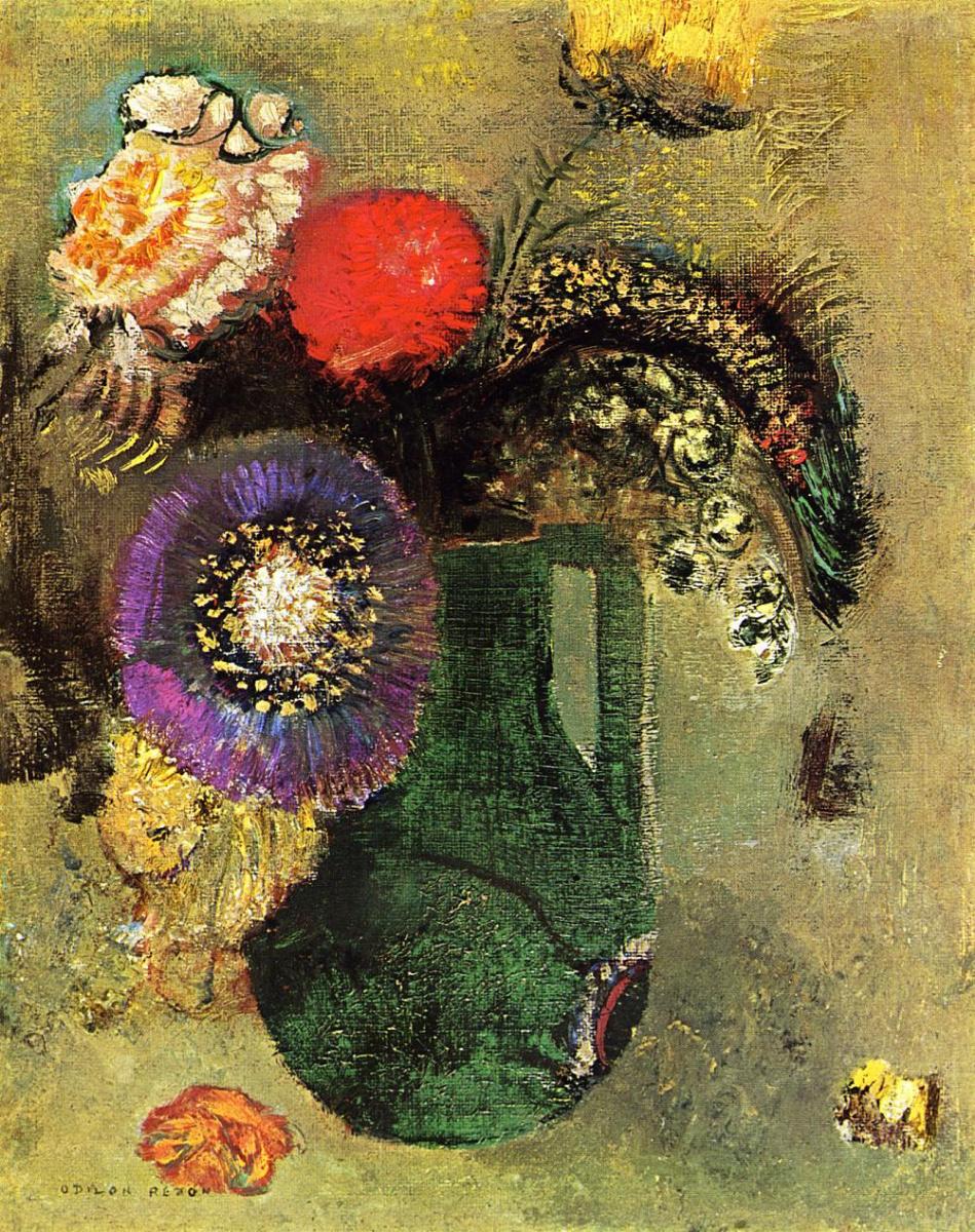 Одилон Редон. Цветы в зеленой вазе с ручками