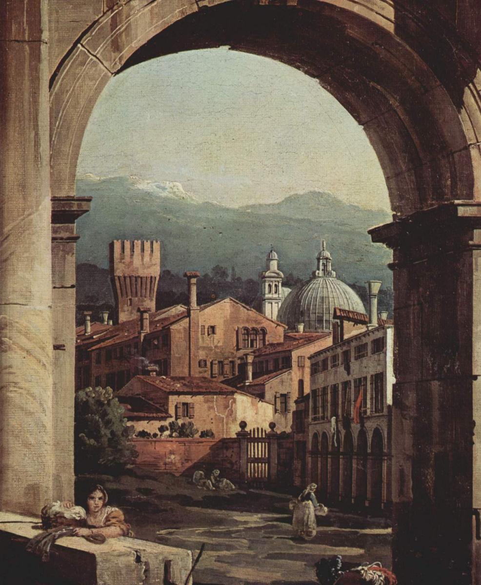 Джованни Антонио Каналь (Каналетто). Римское каприччио, городские ворота и сторожевая башня, фрагмент