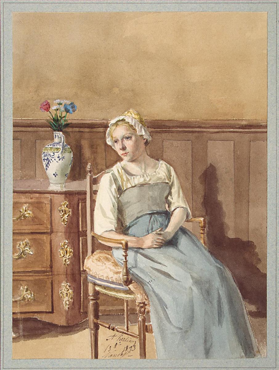 А. Вьерлинг. Интерьер с сидящей в кресле женщиной