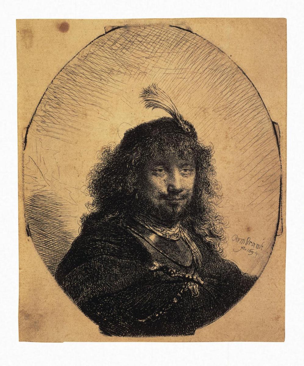 Рембрандт Ван Рейн. Автопортрет в шапочке с плюмажем и опущенной саблей