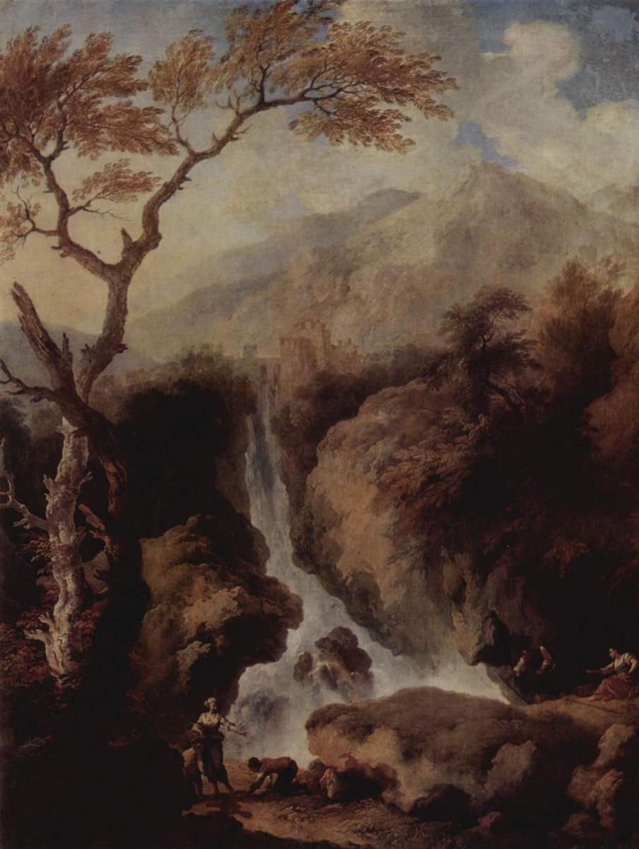 Кристиан Вильгельм Эрнст Дитрих. Водопад в окрестностях Рима