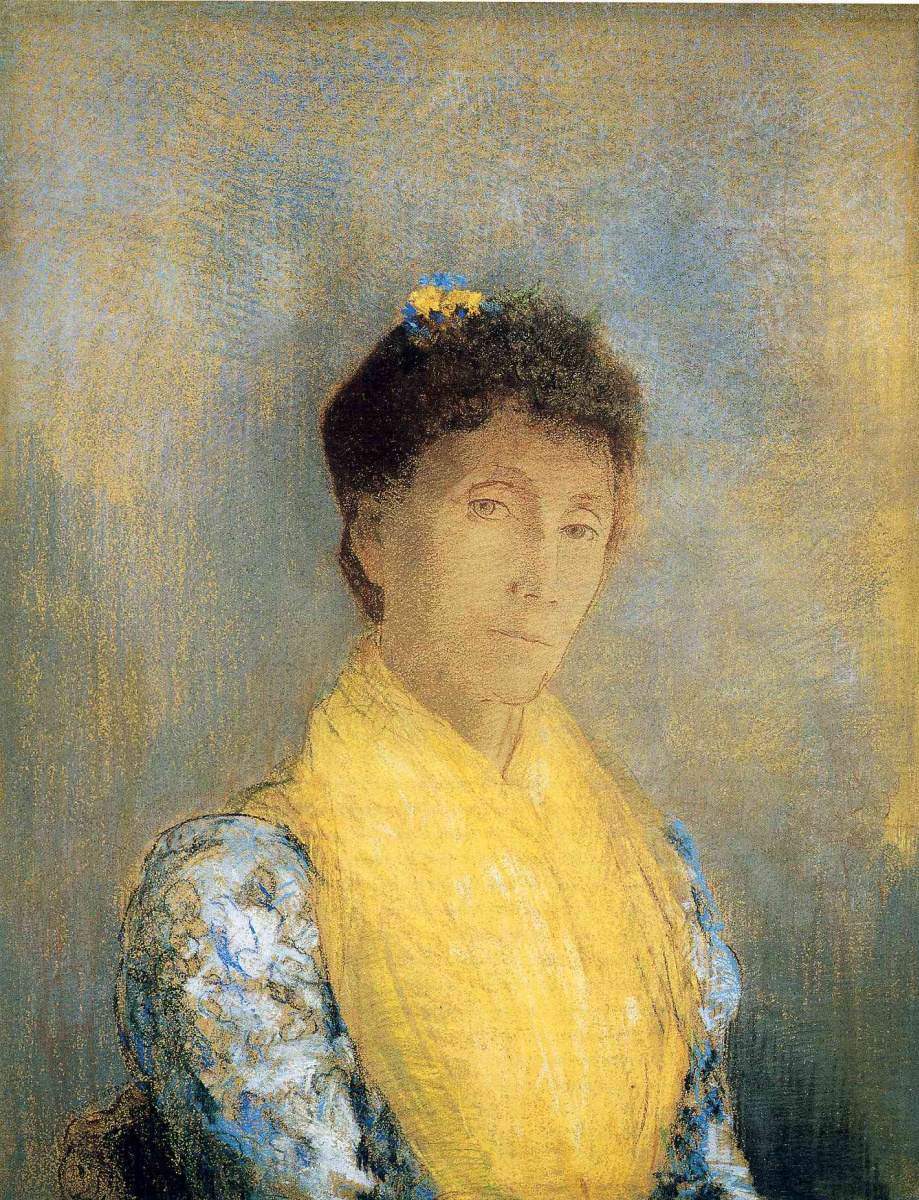 Одилон Редон. Дама с желтым шарфом