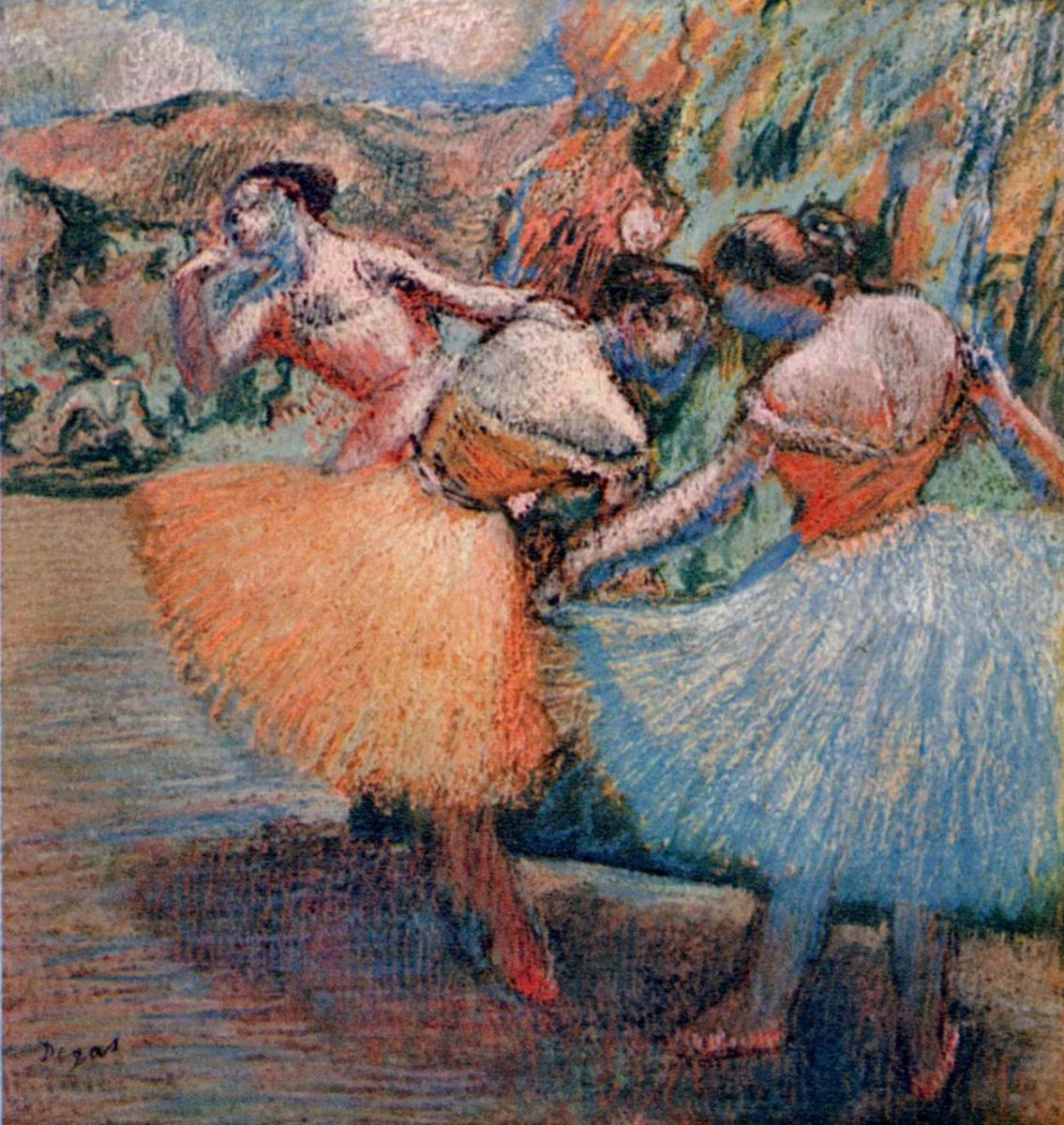 Edgar Degas. Three dancers