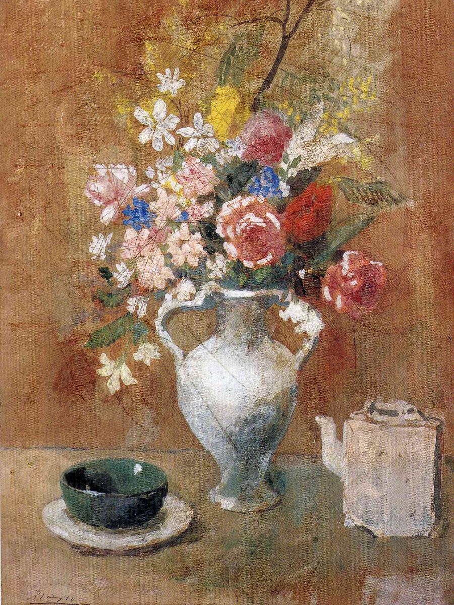 Пабло Пикассо. Букет цветов в белой вазе