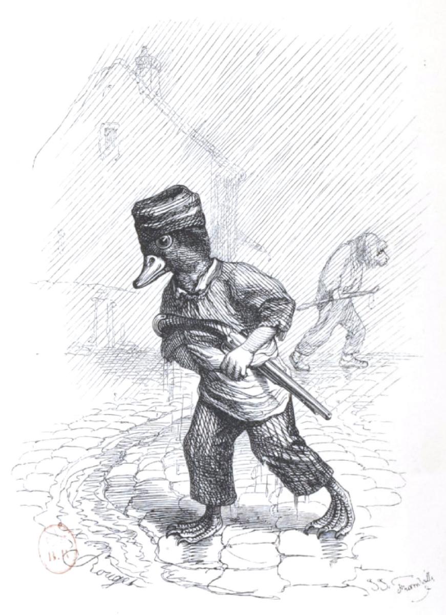 """Жан Иньяс Изидор (Жерар) Гранвиль. Дождь в городе. """"Сцены общественной и частной жизни животных"""""""