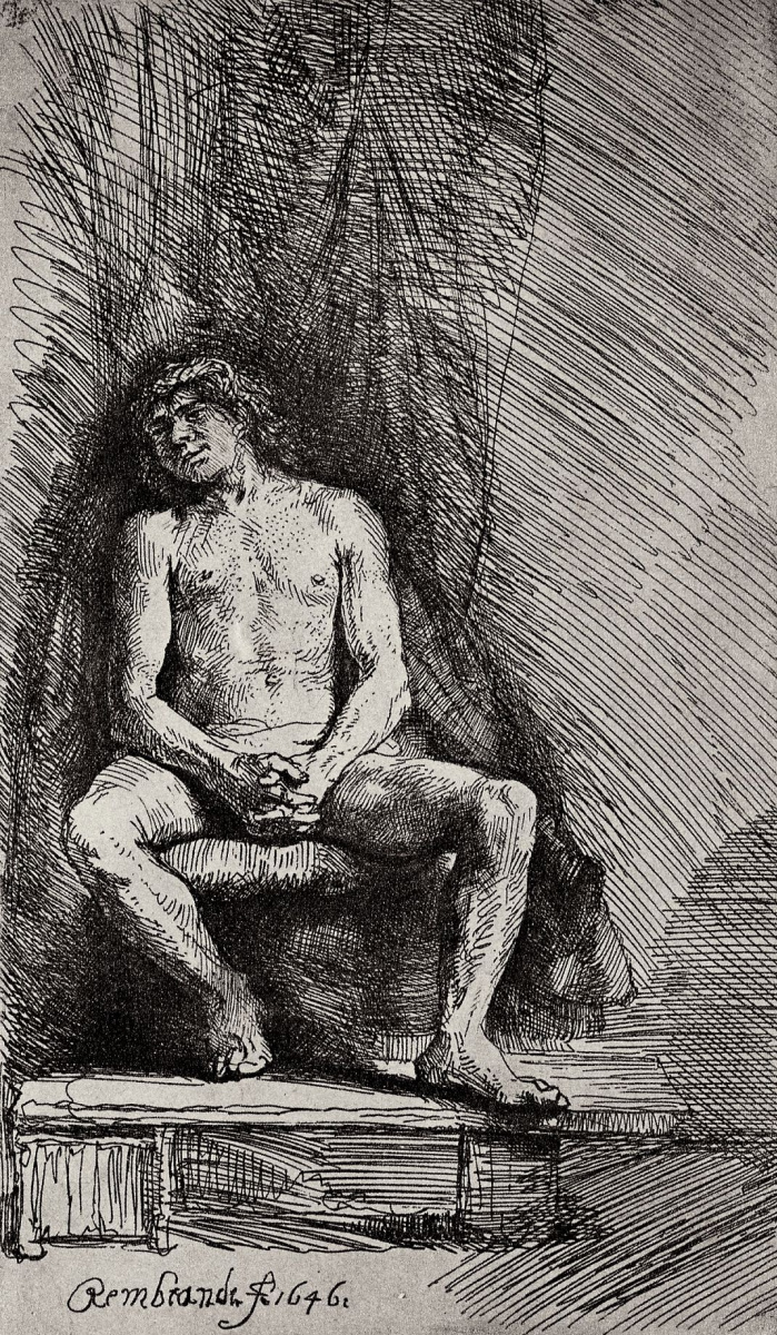 Рембрандт Харменс ван Рейн. Сидящий обнажённый юноша