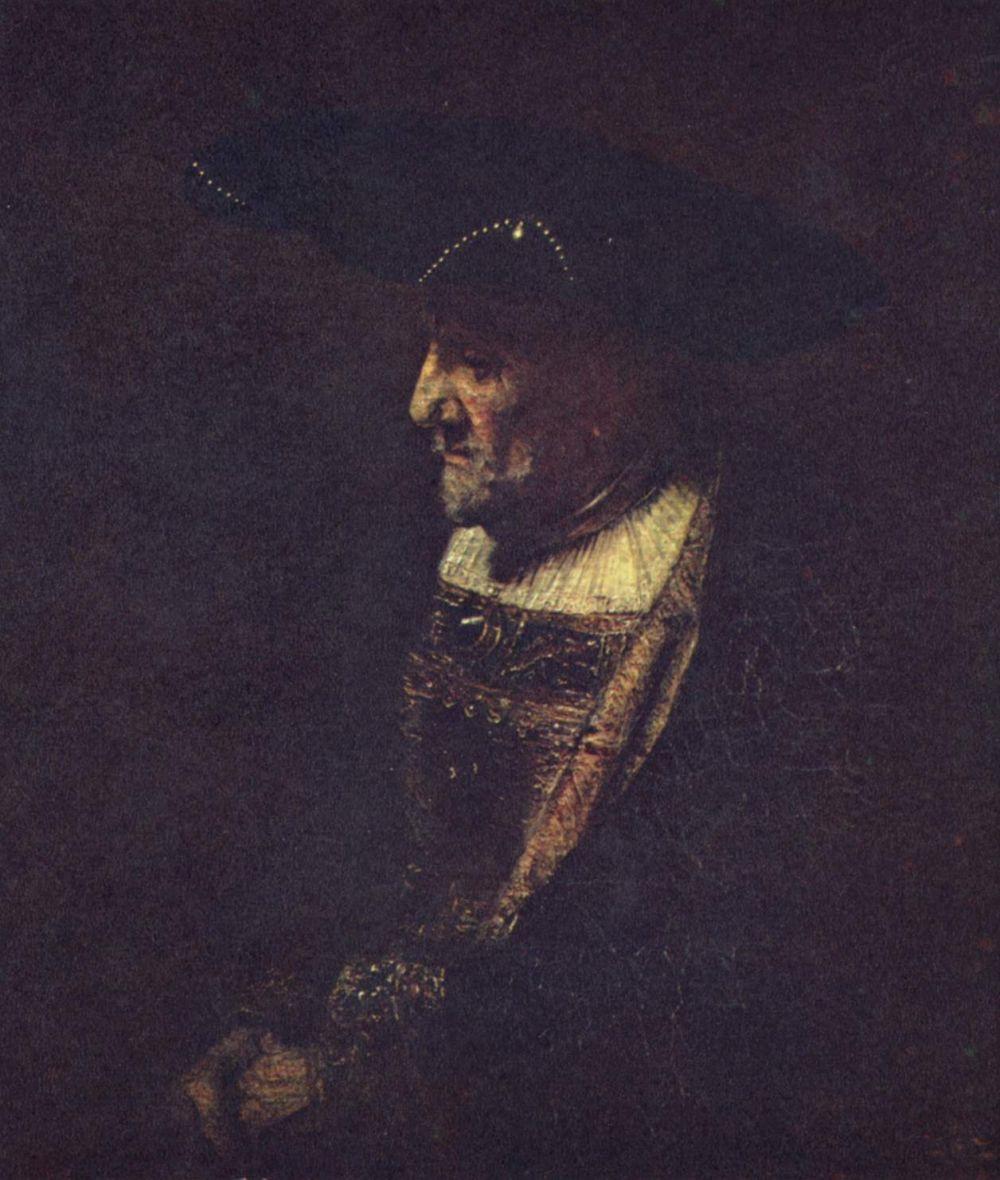 Рембрандт Ван Рейн. Портрет мужчины в шляпе, украшенной жемчугом