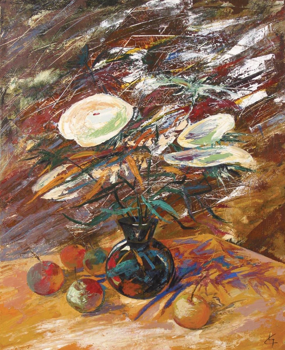 Сергей Николаевич Симкин. Still life with white flowers on a background of infinity