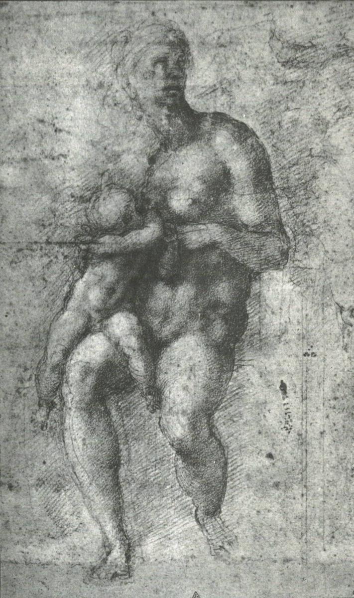 Микеланджело Буонарроти. Этюд к Святое семейство с младенцем Иоанном.