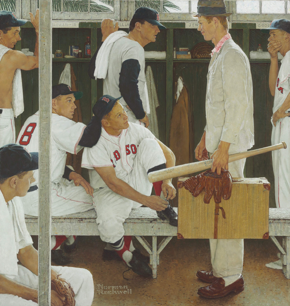 """Norman Rockwell. The Rookie (Red Sox Locker Room). Cover of """"The Saturday Evening Post"""" (March 2, 1957)"""