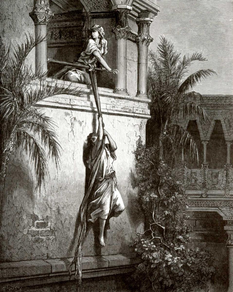 Поль Гюстав Доре. Иллюстрация к Библии: Бегство Давида