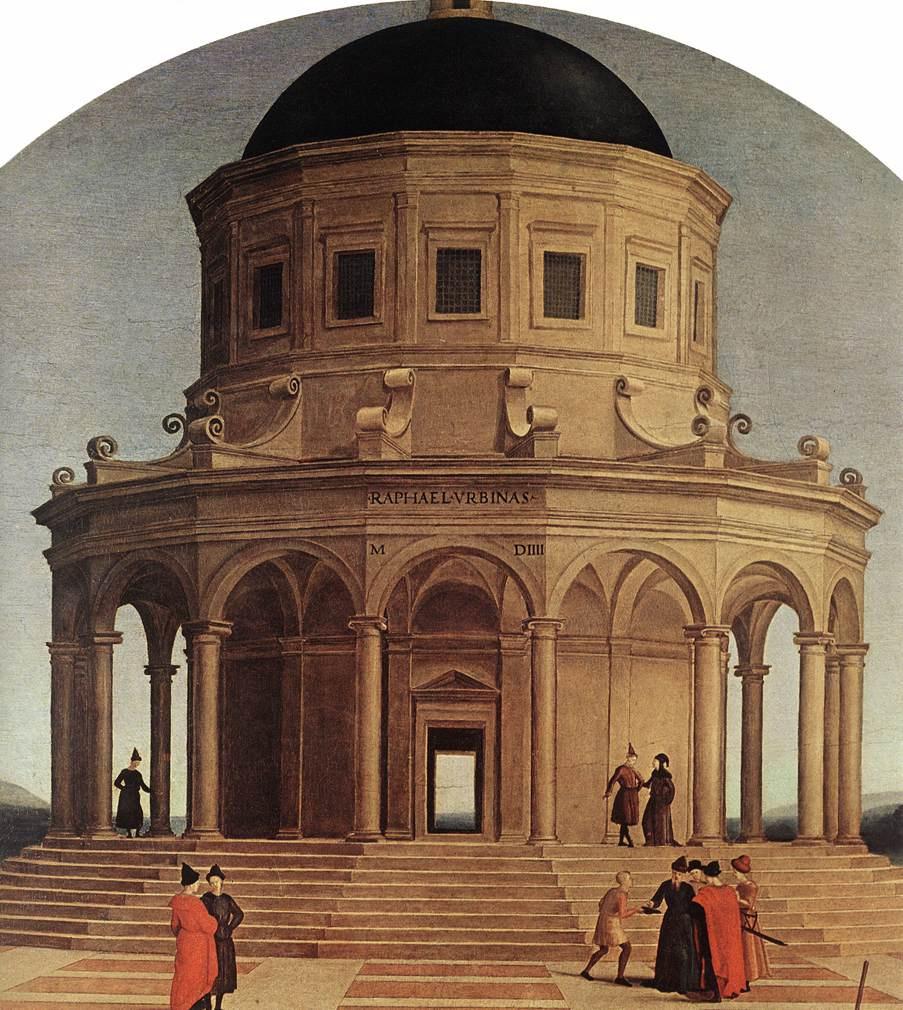 Рафаэль Санти. Обручение Богородицы. Фрагмент: Храм