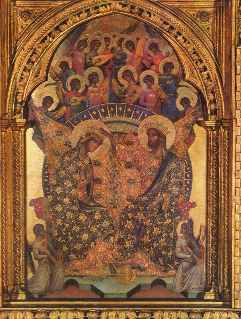 Паоло Венециано. Полипитих с коронованием Марии, центральная часть: Коронование Марии