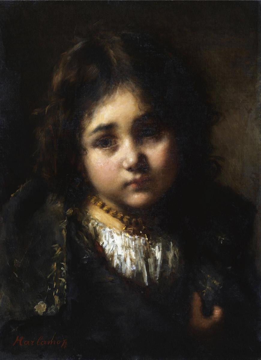 Алексей Алексеевич Харламов Россия 1840 - 1923. Портрет девочки.