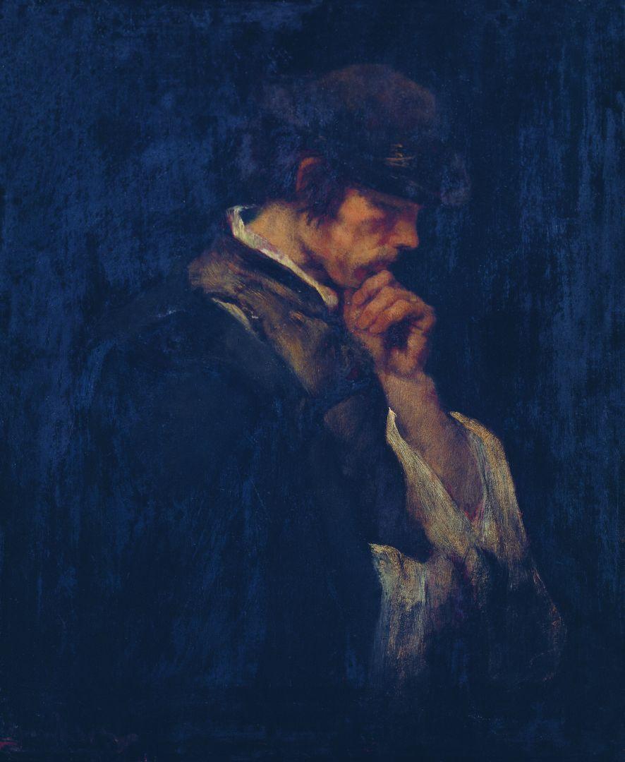 """Михай Либ Мункачи. Задумчивый мужчина. Эскиз для картины """"Осужденный на смерть"""""""